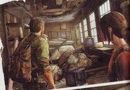 Joel and ellie walk inside a room