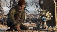 Ellie at Joel's grave