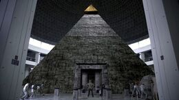 Full view of the great pyramid replica