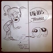 Luan joking about Charles urinating on the floor