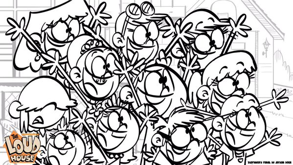 Image loud siblings cheering the loud house for Loud house printable coloring pages