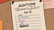 S3E25A Sign up Sheet for Auditions