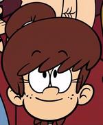 Lynn with her hair in a bun