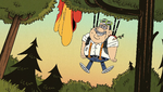 S2E02B Albert hanging from a tree