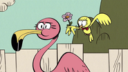 S4E09A He gives a flower to a flamingo