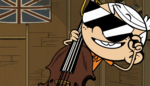 S1E17A Linc on cello with sunglasses