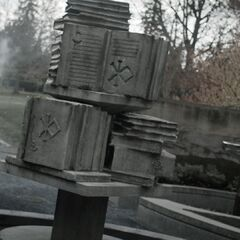 The Poison Room fountain statue of a stack of books