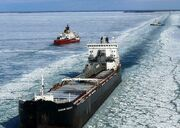 800px-Frozen Lake Huron- icebreakers and commercial vessels