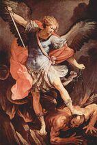 Michael tramples Satan