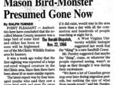 Mason Bird Monster Presumed Gone Now