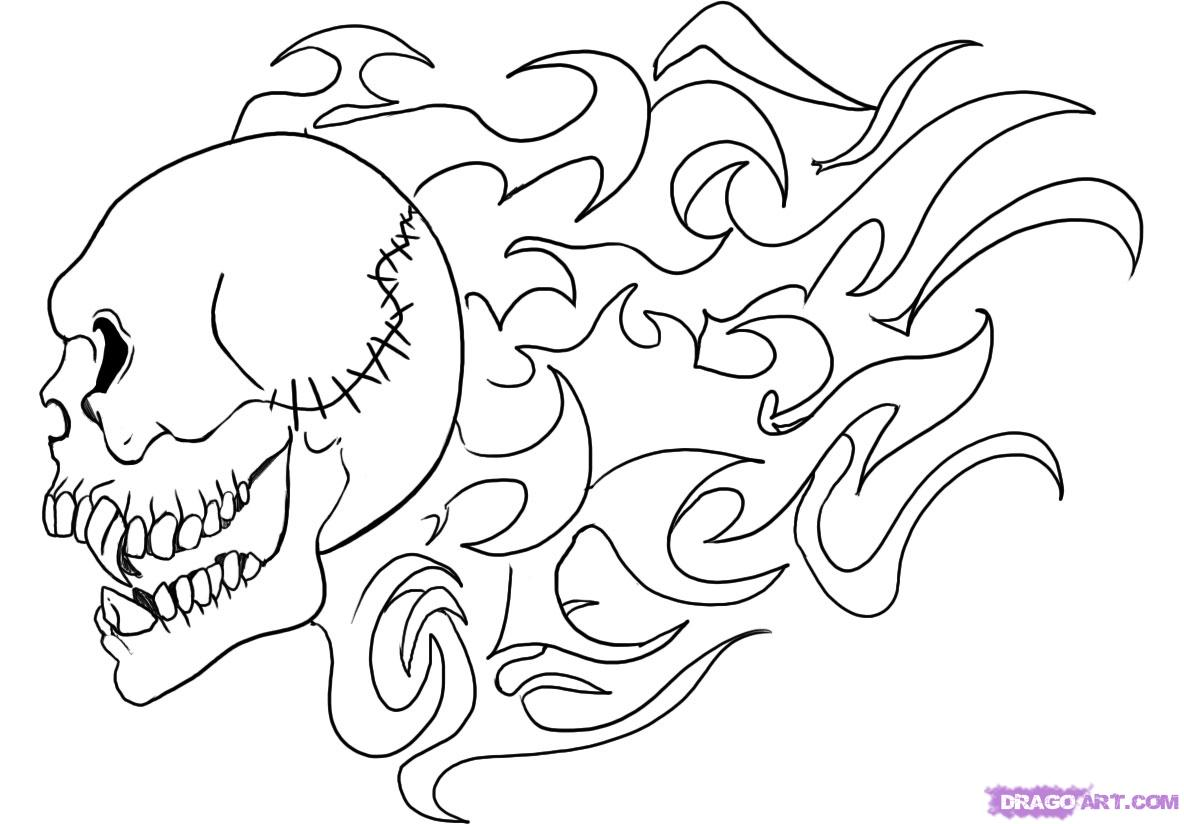 How To Draw A Flaming Skull Step 4