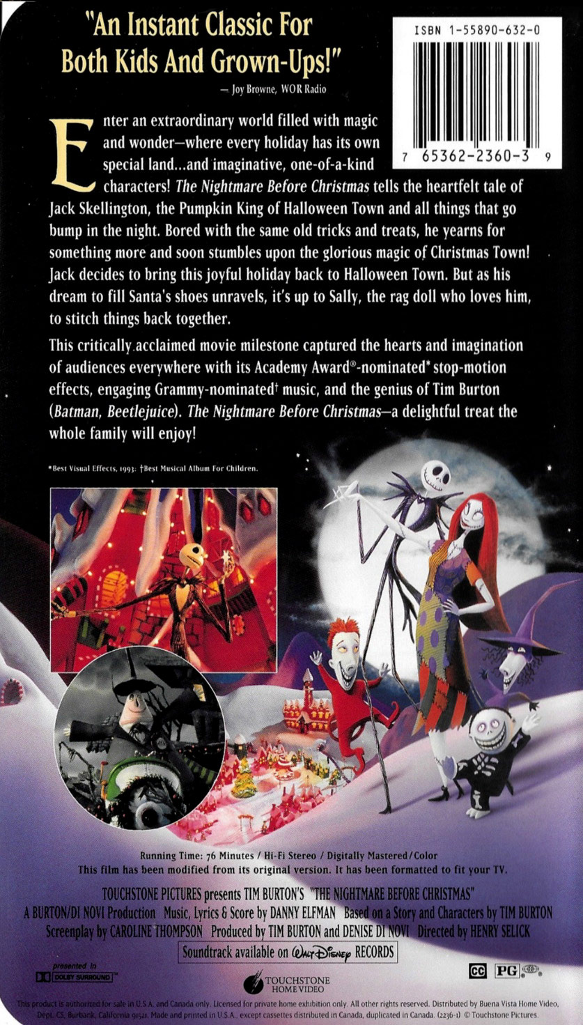 Image - 1994 NBC VHS Back Side cover.jpg | The Nightmare Before ...