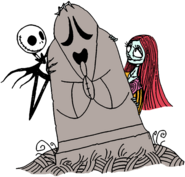 Jack and Sally Behind Tombstone