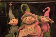 Close up of the storybook Christmas Town elves.