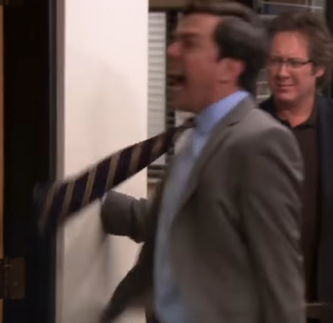 The office darryl called a customer while having sex