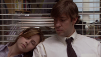 Pam fall asleep on Jim's Shoulder
