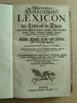 Allgemeines Historisches Lexicon - 1722 - Vierdter Theil - Titelblatt