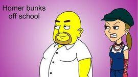 Homer bunks off school