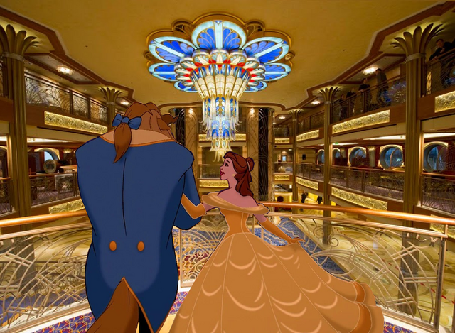 File:Belle and Beast arrived at Disney Cruise Line.PNG