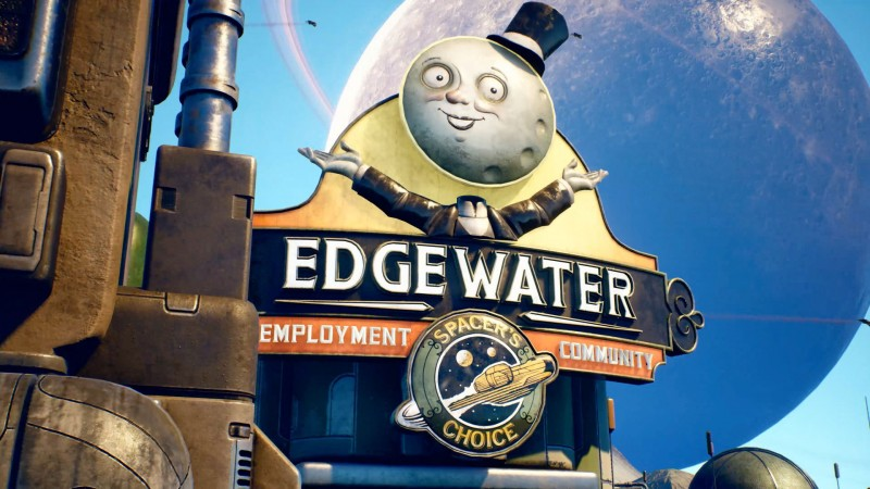 "The sign and logo of the town of Edgewater, an ""employement commnity"": a man with the Moon as his head wearing a top hat and tuxedo, and the logo for the company Spacer's Choice."