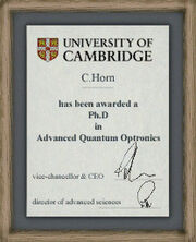 Dr. Horn's PhD diploma