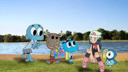 Gumball, Nicole and Penny with Dawn & Piplup