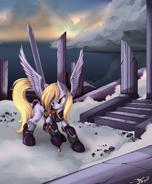 143737 - armor artist ponykillerx badass derpy hooves epic Epic Derpy sword