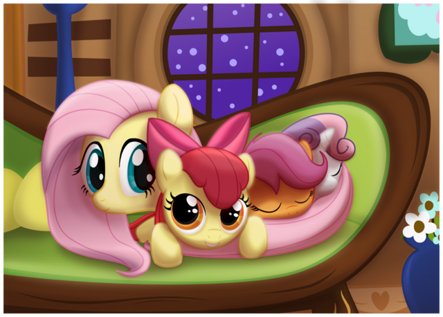 File:Fluttershy N Cutie Mark Crusaders.png