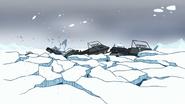 S8E20.061 Snowmobiles Dropping into the Lake