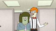 S7E25.049 Receptionist Showing Muscle Man His Cubicle