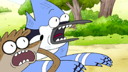 S6E24.137 Mordecai and Rigby Screaming at the Cassowary