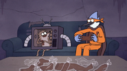 S7E09.332 Mordecai and Rigby Enjoying the Chocolate Body Parts