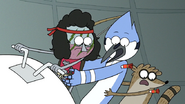 S7E05.375 Mordecai and Rigby Getting Hit with Knockout Darts