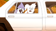 S6E15.126 Mordecai and CJ Locked in the Police Car