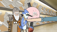 S6E23.095 Toilet Keeper Giving Mordecai a Plunger