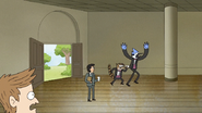 S6E28.091 Mordecai and Rigby Arriving with the Wedding Day Letter