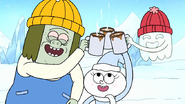 S8E23.041 Muscle Man and HFG Sharing Hot Cocoa with Snow Munchkin