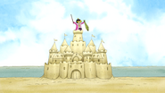 S5E25Rigby on a Sandcastle