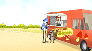 S6E21.006 Mordecai and Rigby Going to Eat the Mushroom Burger