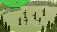 S3E35.054 East Pines Rangers About to Be Hit by a Giant Water Balloon