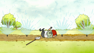 S7E25.016 Muscle Man Slipping on Mud