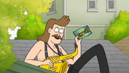 S7E01.050 Sad Sax Guy Holding a Dumptown USA Postcard 01