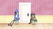 S5E29.065 Mordecan and Rigby Guarding Pop's Door While Sleeping