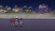 S7E09.320 Jerk Teenagers Seeing Chocolate Witch Approaching Mordecai and Rigby
