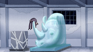 S4E36.208 Security Guard Landing on a Rhino Ice Sculpture