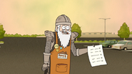 S6E23.146 Eggscellent Knight Holding a Customer-Satisfaction Survey