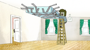 S3E35.002 Muscle Man Duct Taping Mordecai's Bed on the Ceiling