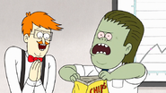 S7E25.105 Muscle Man Opening the Bag of Chips