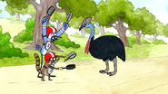 S6E24.110 Mordecai and Rigby Making Noises at the Cassowary
