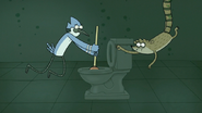 S6E23.103 Mordecai and Rigby Working Together to Unclog a Toilet Underwater